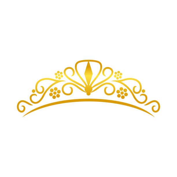 illustrations, cliparts, dessins animés et icônes de beauté tiare golden crown design - diademe