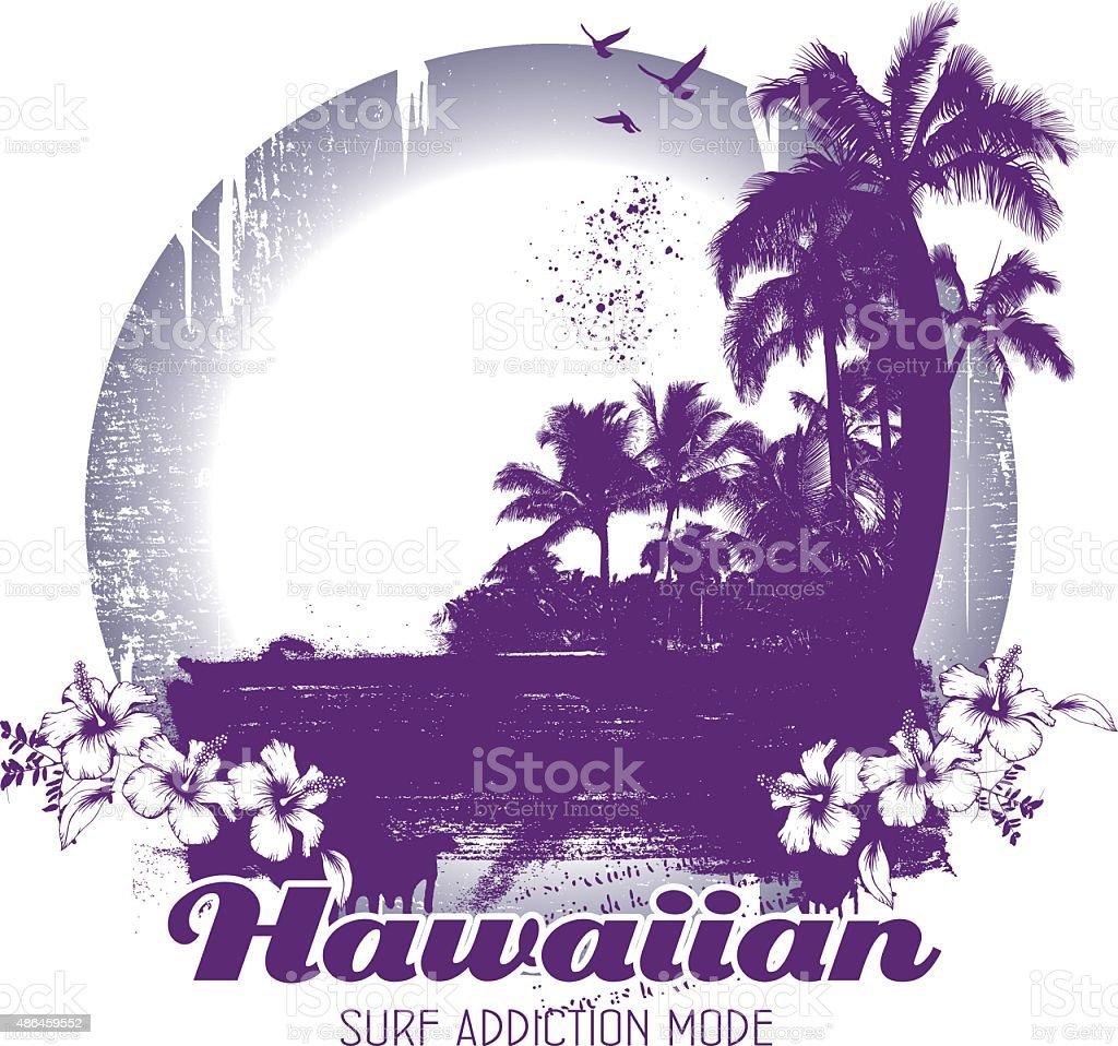 Beauty Grunge And Vintage Hawaiian Beach Scene Stock