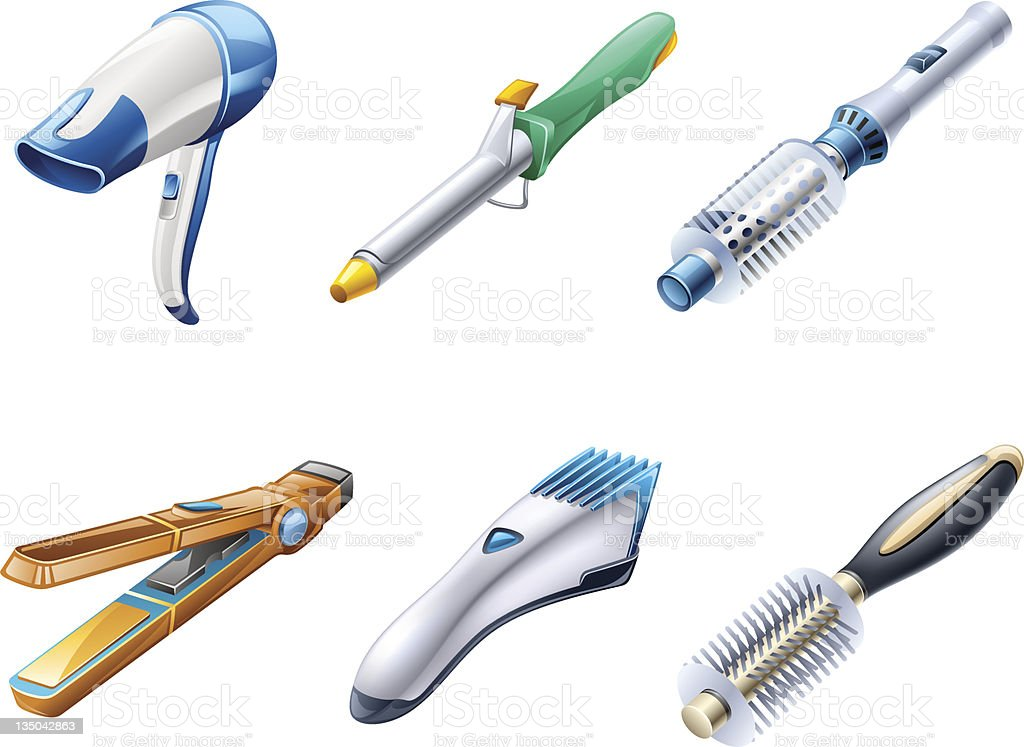 Beauty. Hair care appliances: dryer, curling iron, hairbrush, flattener, clipper. vector art illustration