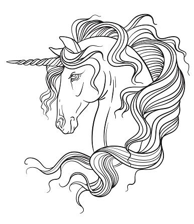 Beauty head of unicorn coloring vector illustration