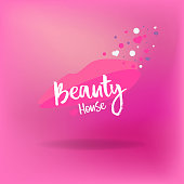Beauty house logotype, for web and print decoration, Spa and hairdresser salon, barber, cosmetologist and beautician abstract emblem for cosmetics