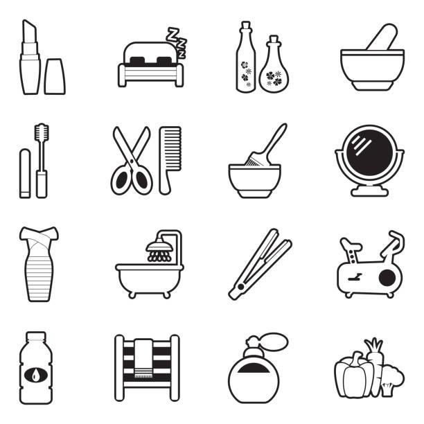 bildbanksillustrationer, clip art samt tecknat material och ikoner med skönhet ikoner. linje med fyllnings design. vektor illustration. - black woman towel workout