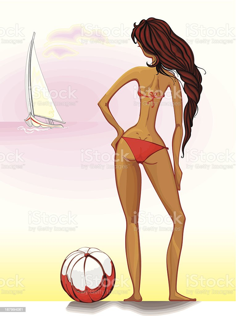 Beauty in a red bikini. royalty-free stock vector art