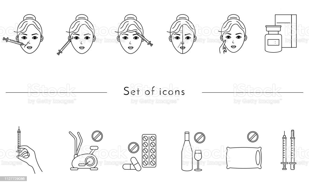 Ícone de linha de injeção de beleza. Mulher, rosto, seringa médica, botox. Conceito de cuidados de beleza. Pode ser usado para temas como rejuvenescimento, estética, cosmetologia - ilustração de arte em vetor