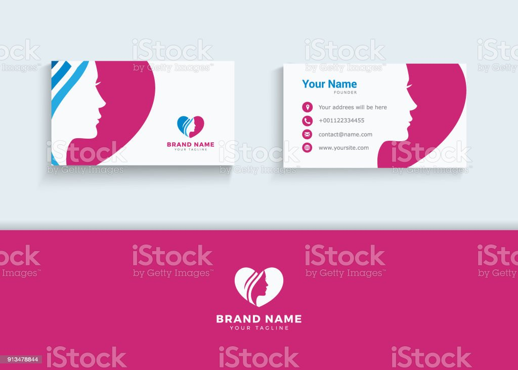Beauty Lady In Heart Symbol And Business Card Design Template Spa