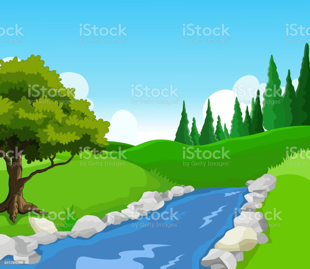 beauty lake with landscape background vector art illustration