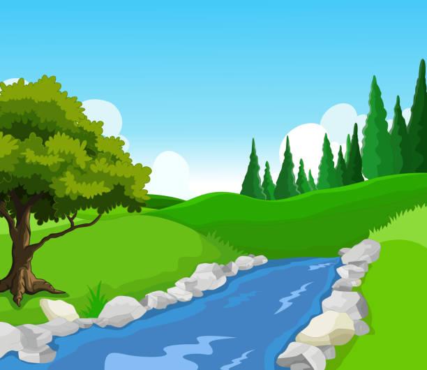 piękno jeziora z krajobraz w tle - rzeka stock illustrations