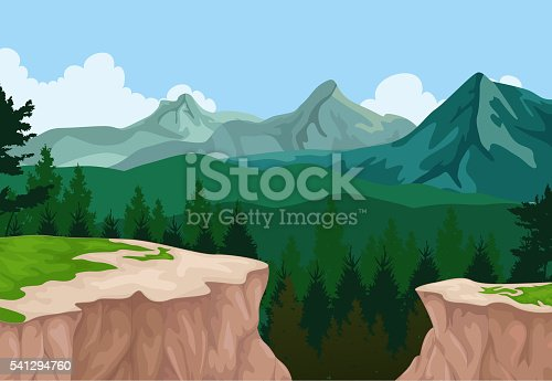 vector illustration of beauty lake with mountain cliff landscape background