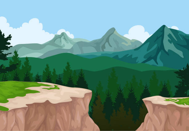 beauty lake with mountain cliff landscape background vector illustration of beauty lake with mountain cliff landscape background cliff stock illustrations
