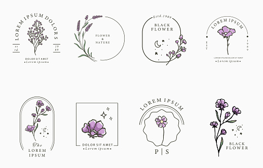 Beauty lavender collection.Vector illustration for icon,sticker,printable and tattoo