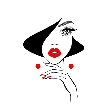 Beauty logo, beautiful sexy face, red lips, hand with red manicure nails, fashion woman, red earrings, nails studio, black hairstyle, hair salon sign, icon. Beauty Logo. Vector illustration.