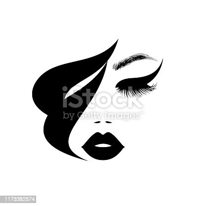 Beauty logo, beautiful woman face, sexy black lips, eyelash extensions, fashion woman, curly hairstyle, hair salon sign, icon. Vector illustration.