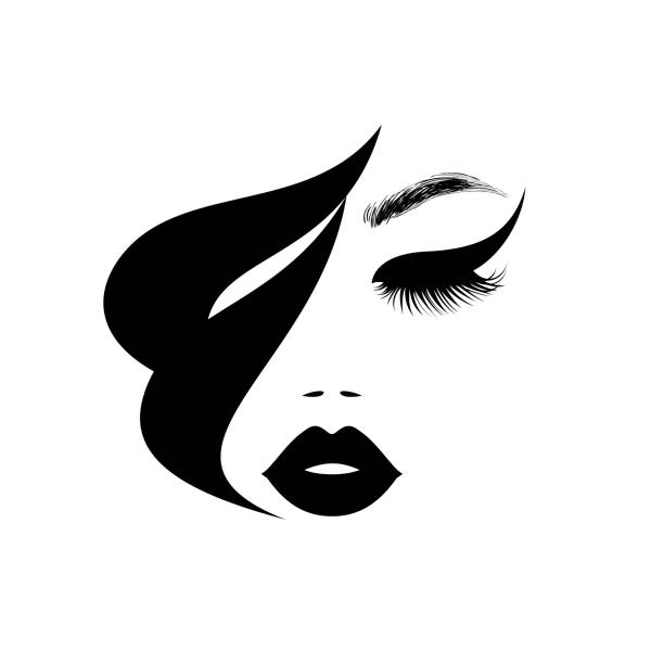 Beauty logo, beautiful woman face, sexy black lips, eyelash extensions, fashion woman, curly hairstyle, hair salon sign, icon. Vector illustration. Beauty logo, beautiful woman face, sexy black lips, eyelash extensions, fashion woman, curly hairstyle, hair salon sign, icon. Vector illustration. beautiful woman stock illustrations