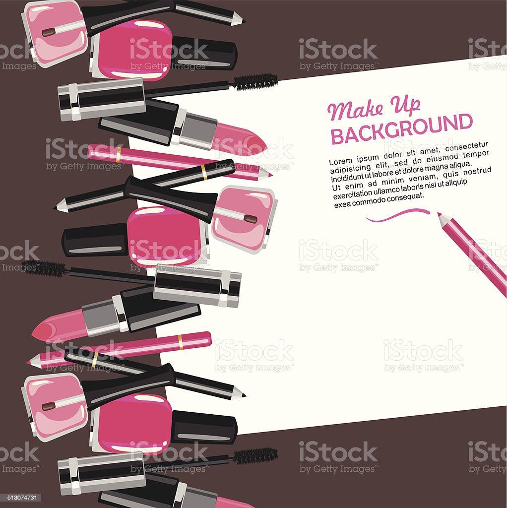 Beauty make up fashion cosmetics vector background vector art illustration