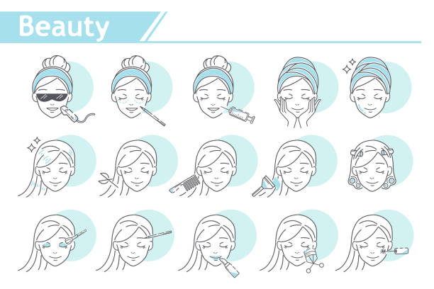 schönheit make-up-symbol - beauty face stock-grafiken, -clipart, -cartoons und -symbole