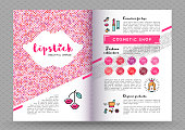 Beauty makeup and lipstick fasion collection brochure A4. The concept of the printing template, directory covers, flyers and web banners on the theme of beauty, cosmetics makeup. Vector