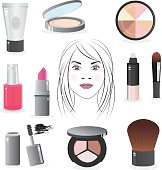 Beautiful, clean and modern beauty and makeup icon set that consists of 10 icons representing the various beauty and makeup subjects. These include: lipstick, foundation compact, nail polish, mascara, eye shadow palette, cream moisturizer, highlight marker, makeup brush, highlight powder and blush brush.