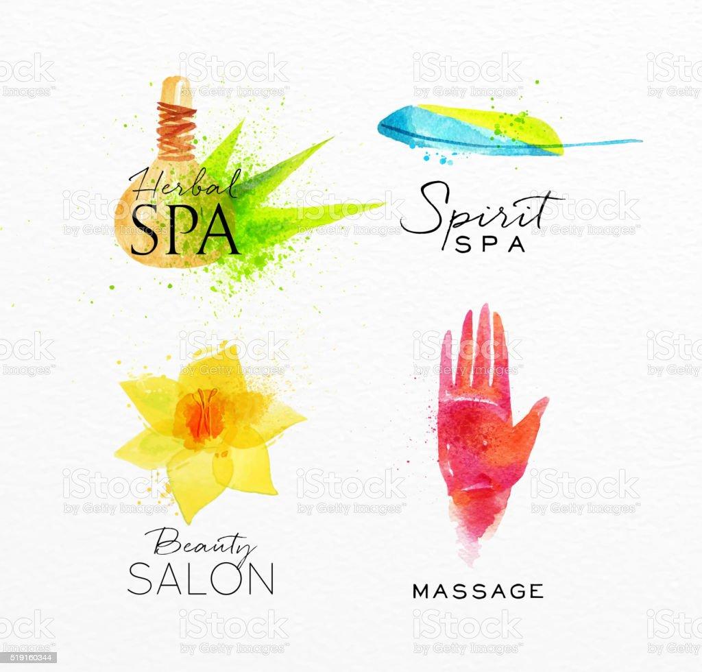 Beauty natural spa symbols herbal vector art illustration