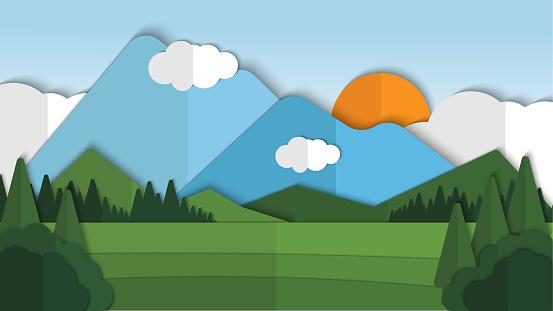 Beauty nature landscape paper cut style with cloud background vector illustration, landscape pattern