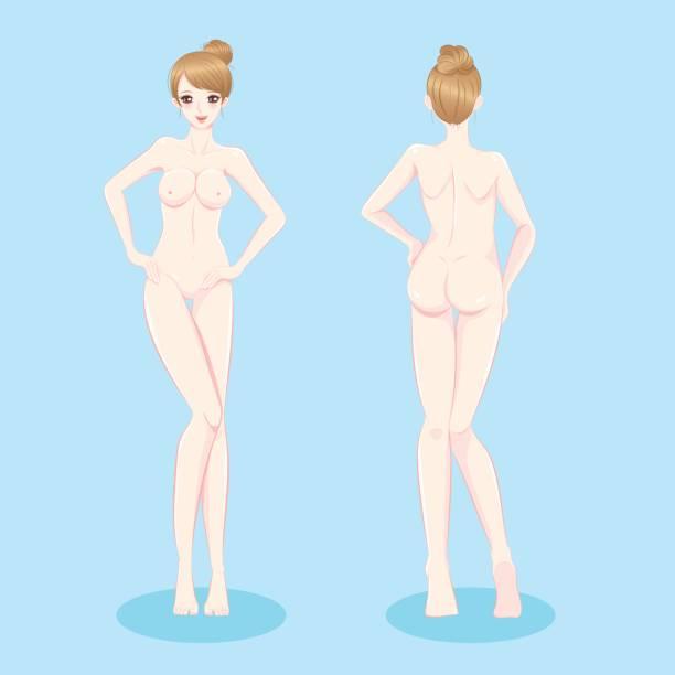 美しいヌード女性 - 体 洗う点のイラスト素材/クリップアート素材/マンガ素材/アイコン素材
