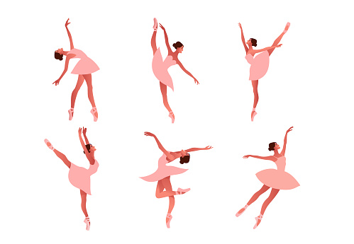 Beauty of classic ballet flat vector set