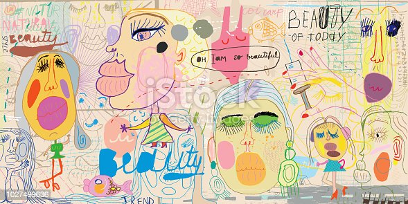 Hand drawn female faces. Fillers and botox makes you beautiful or illusion of such an idea. Pouting(new keyword?)