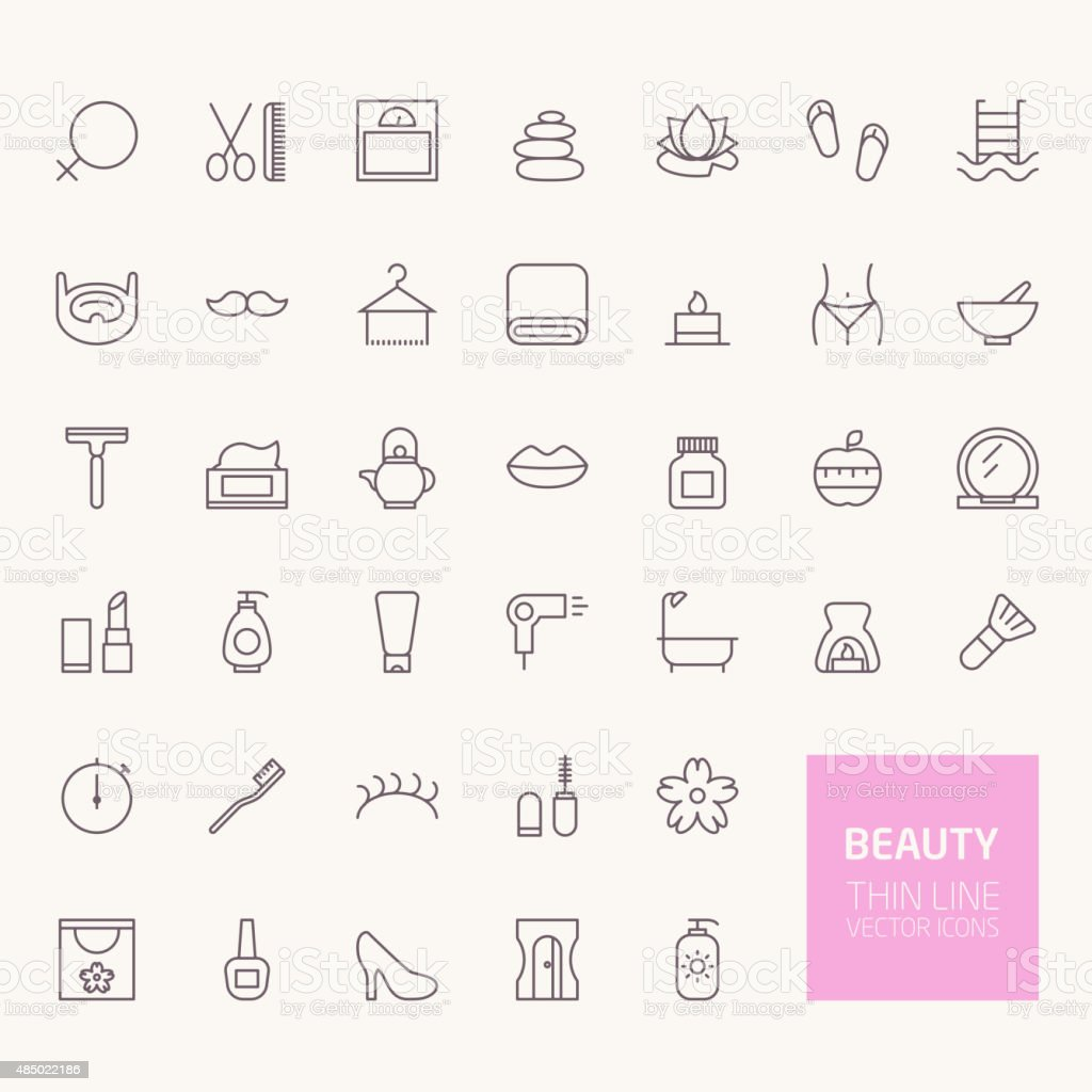 Beauty Outline Icons for web and mobile apps vector art illustration