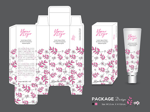 Beauty Packaging template, 3d Box cosmetics, product design, Package tag, healthy products, Cream layout, Fresh ecological, nature box, Body care, spa, lotion, shampoo, Realistic bottle mock up
