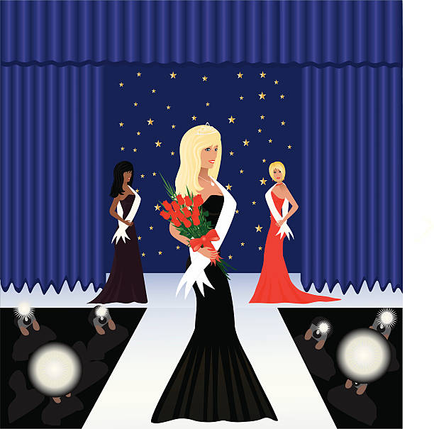 beauty pagent - prom fashion stock illustrations, clip art, cartoons, & icons