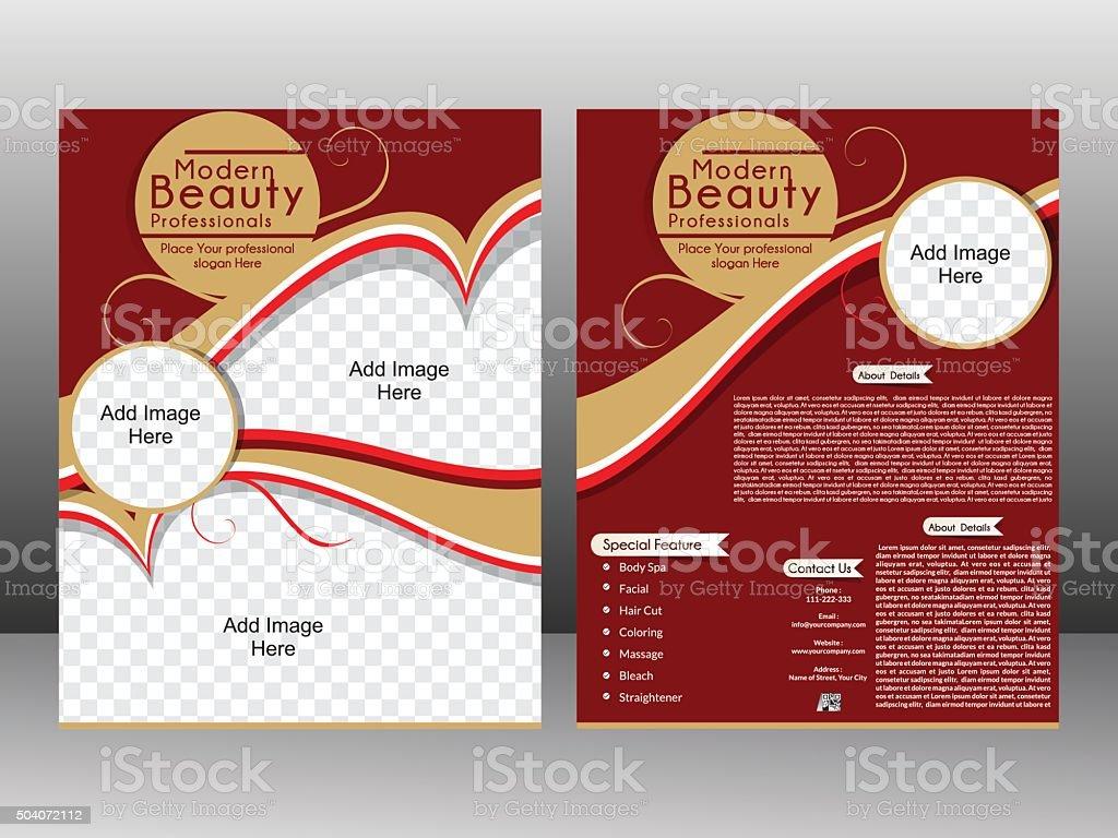 beauty parlor flyer template design magazine cover stock vector art
