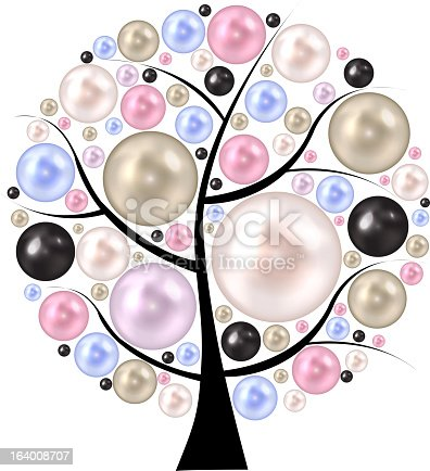 Beauty pearl  on tree. background vector illustration.. EPS10. Contains transparent objects used for shadows drawing, glare and background. Background to give the gloss.
