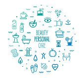 Beauty and personal care outline style symbols with modern gradient colors. Line vector icons for infographics, mobile and web designs.