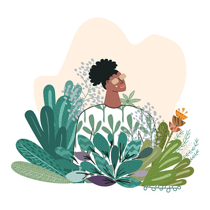 Beauty portrait of young sensual African American woman with flowers isolated on white background. Pretty girl in nature. Template for a summer spring card, poster. Flat vector cartoon illustration
