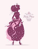 Beauty princess. Vector silhouette illustration.
