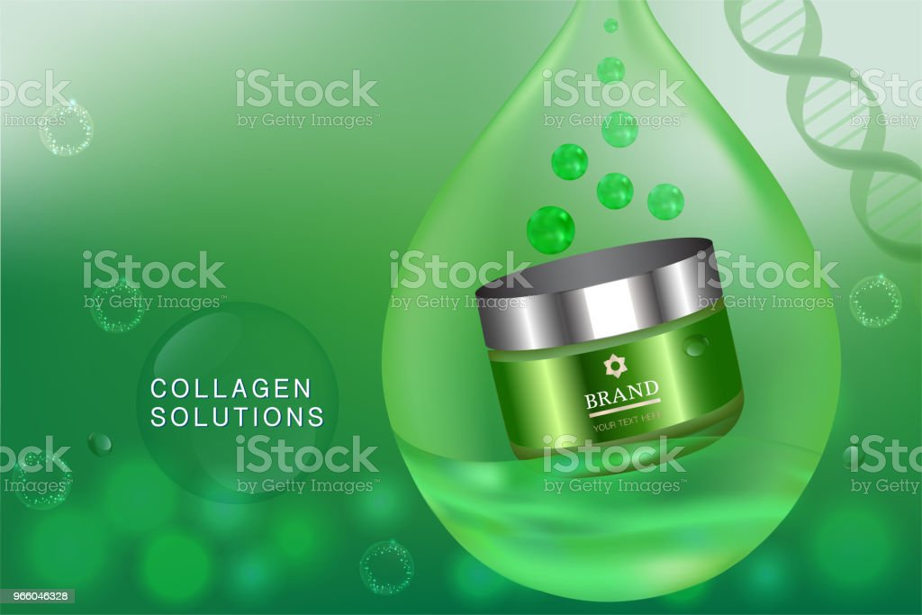 Beauty product, green cosmetic container with advertising background ready to use, luxury skin care ad - Векторная графика Ароматерапия роялти-фри