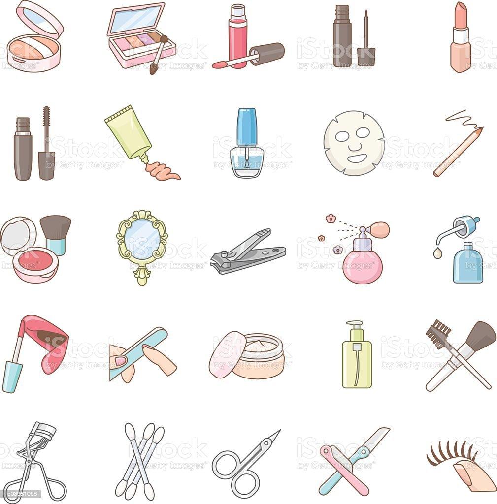 Vetor ícones de produtos de beleza de cor - ilustração de arte em vetor