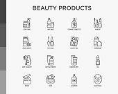 Beauty products thin line icons set: skin care, cream, gel, organic cosmetics, make up, soap dispenser, nail care, beauty box, deodorant, face oil, scrub, shampoo, sheet mask. Modern vector illustration.