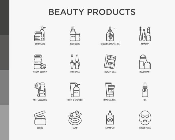 красота продукты тонкой линии иконы набор: уход за кожей, крем, гель, органическая косметика, макияж, мыло дозатор, уход за ногтями, коробка к - makeup stock illustrations