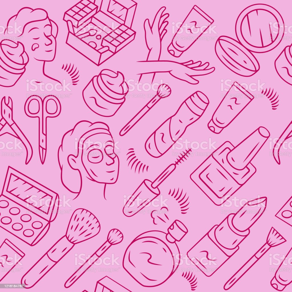 Beauty Products Vector Seamless Pattern Makeup Background Pink Texture Linear Icons Cosmetology Beauty Service Lipstick Eye Shadow Cream Skin Care Cosmetics Wrapping Paper Wallpaper Design Stock Illustration Download Image Now Istock
