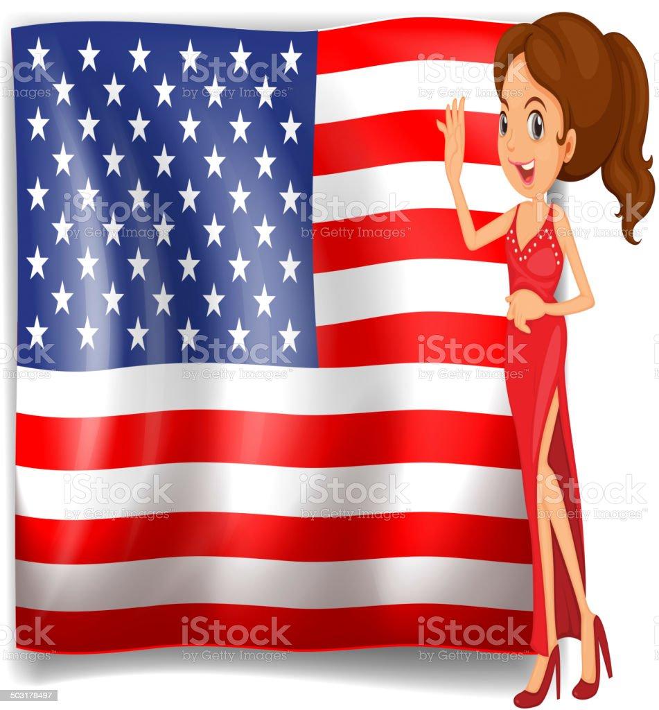 Beauty Queensizebett Und Die Flagge Der Usa Stock Vektor Art Und