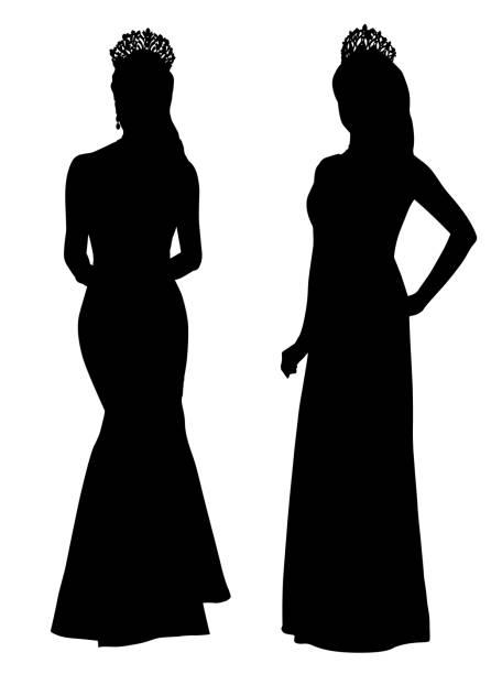 schönheit königin trägt krone in silhouette isoliert auf weißem hintergrund - hochzeitsanstecker stock-grafiken, -clipart, -cartoons und -symbole