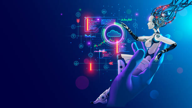 Beauty robot woman sitting in hand human, analyze data on hud interface in cyberspace. Cyborg with artificial intelligence working with neural networks, big data, cloud computing. AI and Industry 4.0 vector art illustration