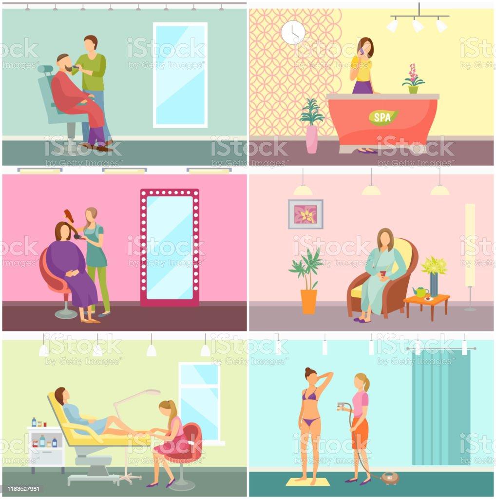 Beauty Salon And Spa Center Interior Cartoon Set Stock Illustration Download Image Now Istock
