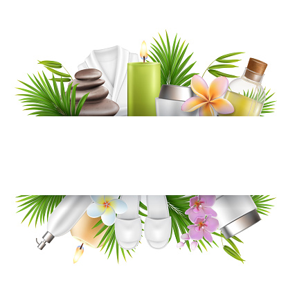Beauty salon and spa poster, frame template with accessories for skin care procedures. Vector illustration.