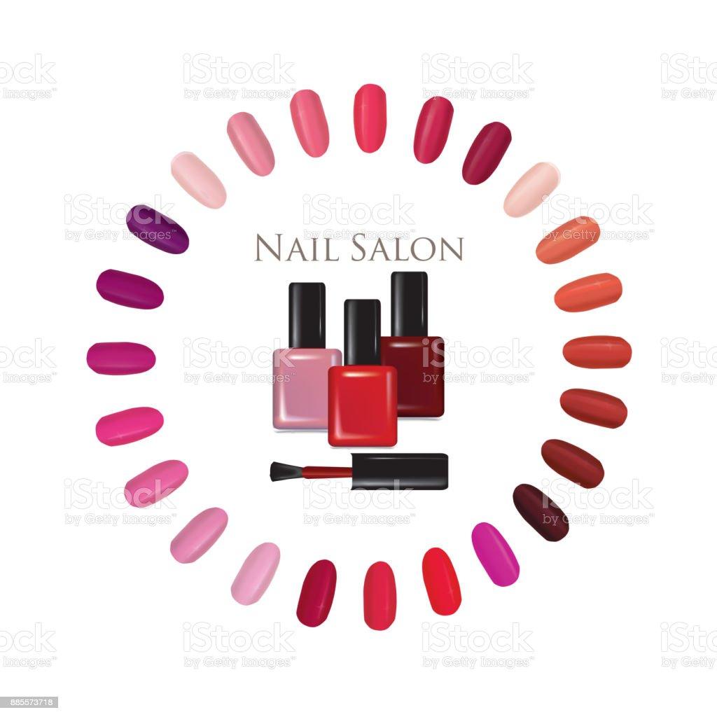 Beauty salon background. Nail polish palette bottle sign. manicur set vector art illustration