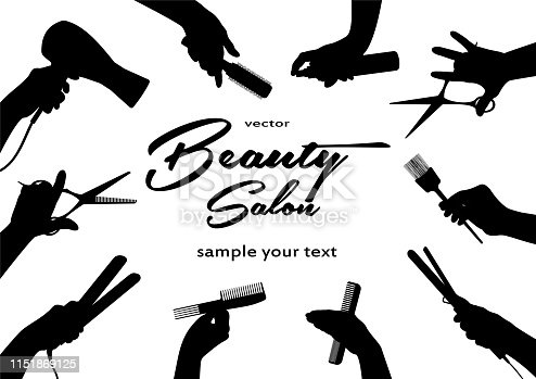 Beauty salon.  Barbershop and Hairdressing. Hands Barber cut, stack, curl, dye their hair.  Horizontal banner. Black isolated silhouette. Vector illustration