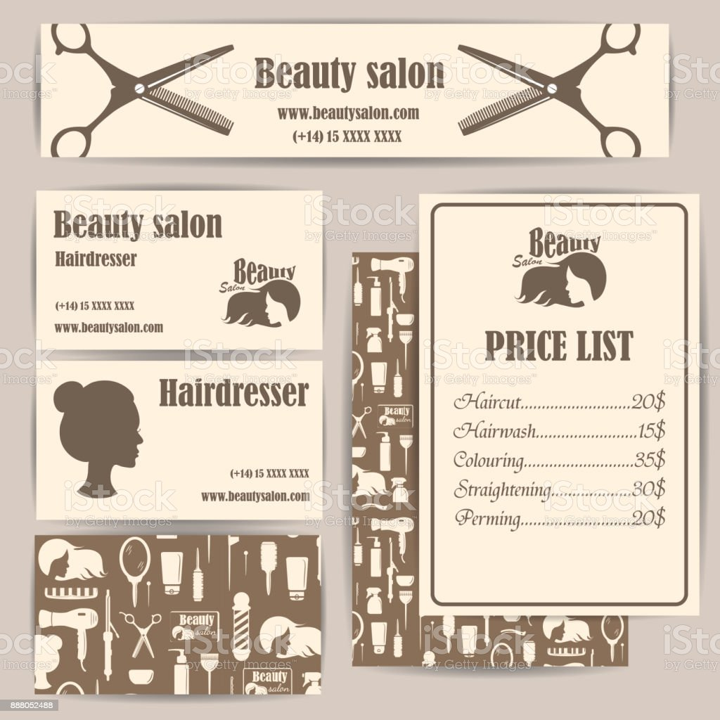 Beauty salon barbershop vintage business cards and prices design beauty salon barbershop vintage business cards and prices design template set royalty free beauty colourmoves