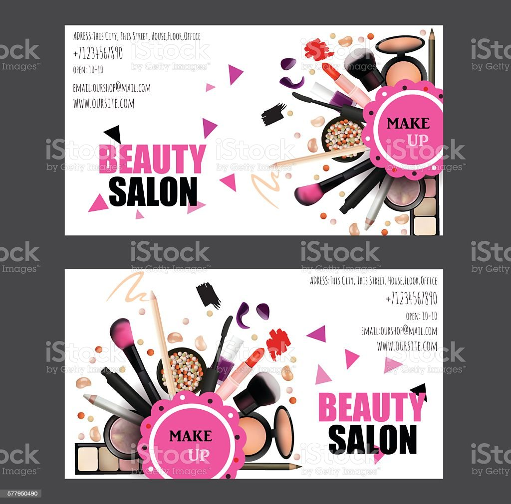 Beauty Salon Business Card Design Set Stock Vector Art & More Images ...