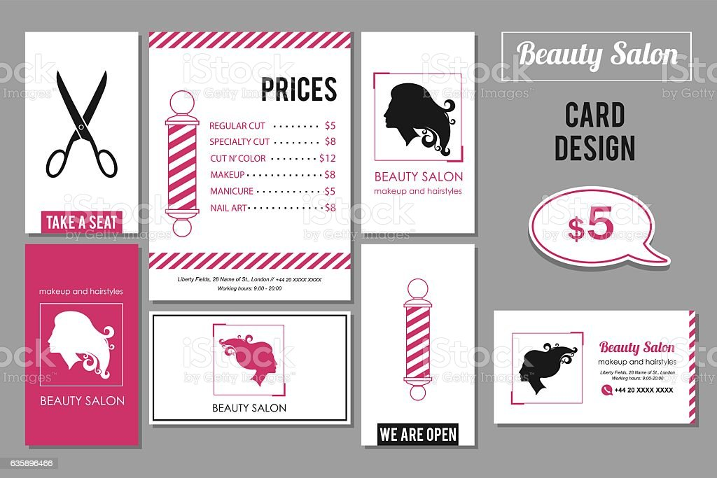 Beauty Salon Business Card Design Templates With Womans Profile ...