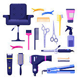 Beauty salon colorful icons vector design elements. Hair hairdresser tools and equipment isolated on white background